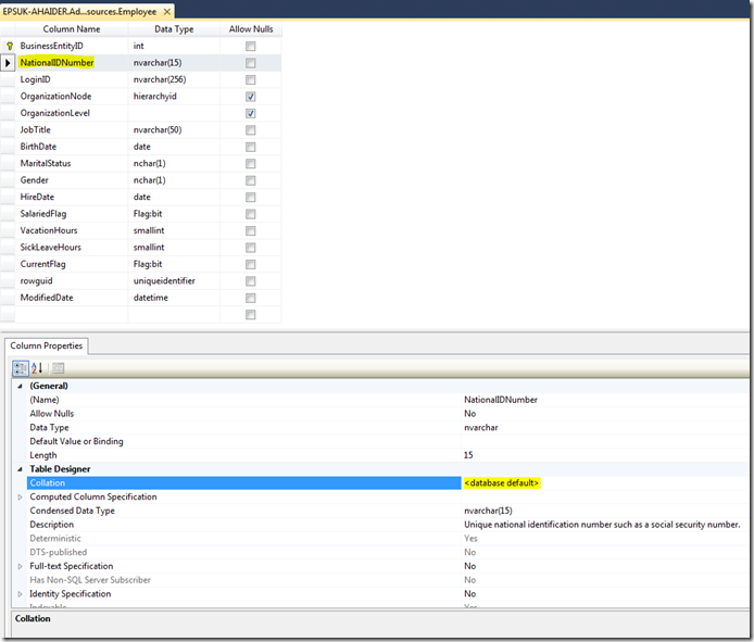 Getting Column Collation SQL Management Studio