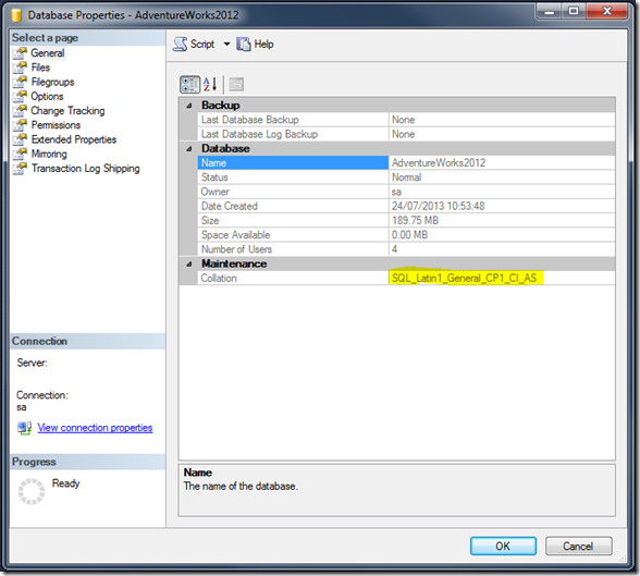 Getting Database Collation SQL Management Studio