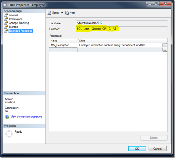 Getting Table Collation SQL Management Studio