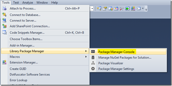 How to access Nuget Package Manager Console